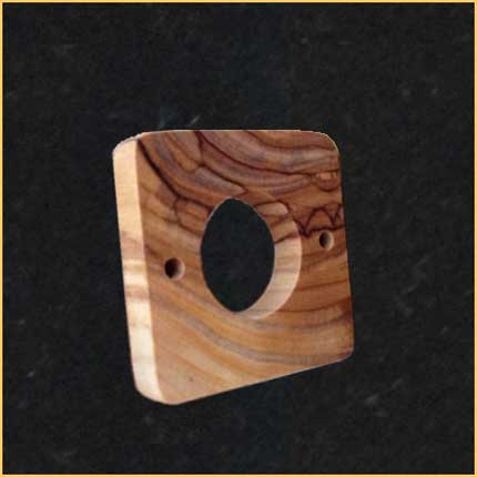 Handmade Olive Wood Rounded Square Pendant