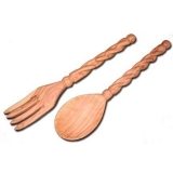 Olive Wood Salad Server Set - Spiral Handle
